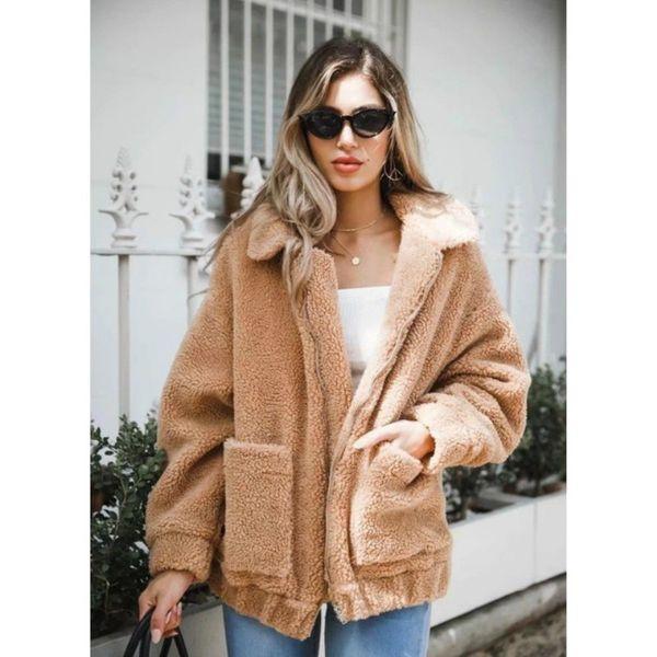 europe and the united states women's autumn and winter warm lamb plush loose jacket jacket long-sleeved lapel collar pocket zipp