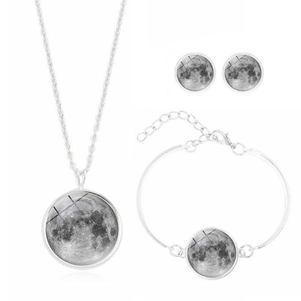 2019 nouvelle vente chaude Galaxy Star série temps verre collier boucles d'oreilles bracelet dames accessoires trois pièces