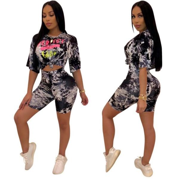 Sportswear das mulheres t shirt de duas peças shorts set moletom com capuz T-shirt curto legging roupas femininas calças curtas moda lantejoulas sportswear klw1430