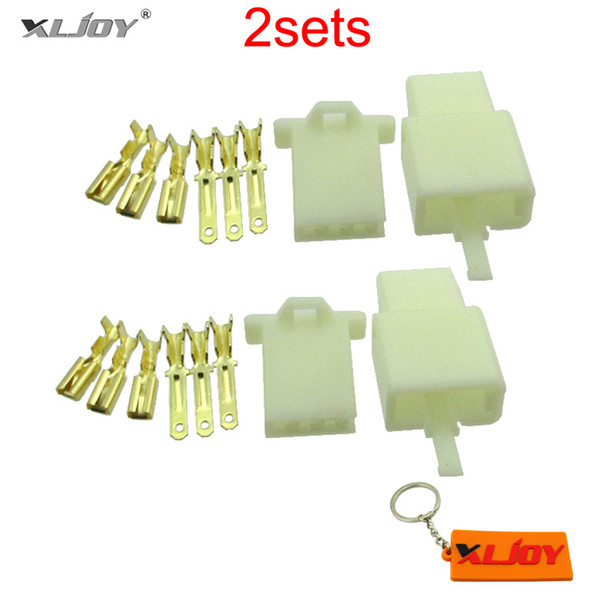 XLJOY 3 Pins Electrical Wire Connector Terminal Harness Plug Socket For Pit Dirt Pocket Mini Bike Go Kart ATV Scooter Motorcycle