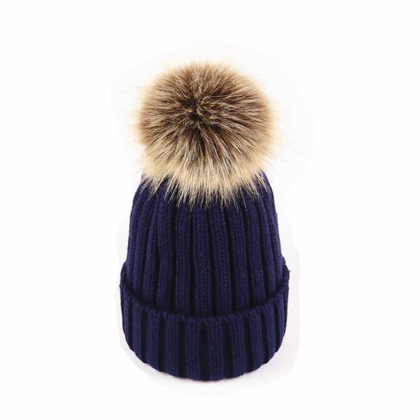 Bambini Inverno caldo cappelli carino Faux Fox Fur Fluffy Pompon Ball lavorato a maglia cappello Moda torsione Twist tappi per ragazzi e ragazze