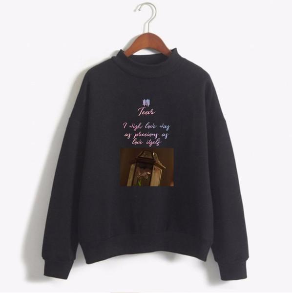 Kpop Love Yourself Tear Fake Love Sweatshirts Women 3d Print Black Pink White Turtleneck Plus Size Hoodies Sweatshirt Men