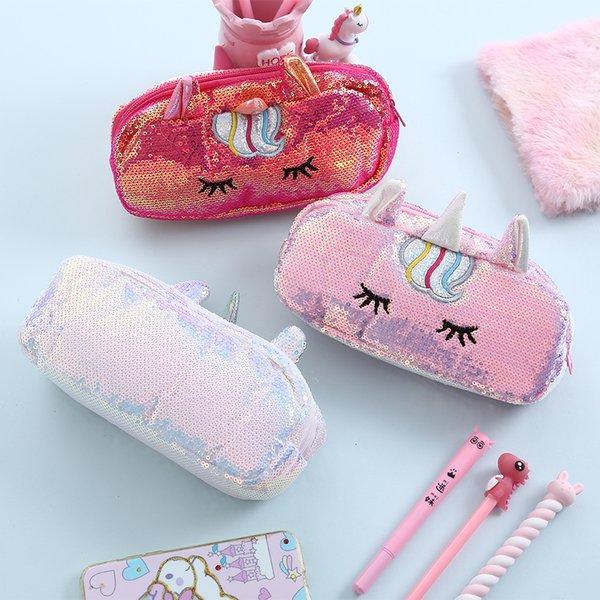 Bentoy Unicorn Sequins Bolso de cosméticos para mujer Pequeño bolso de cosméticos lindo Maquillaje Almacenamiento Caja de lápices Estuche de escritura Envío de la gota