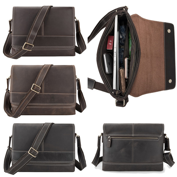 men's cow leather formal business briefcases cross body bags plain lapmessenger bag vintage zipper sling satchel shoulder bags gift