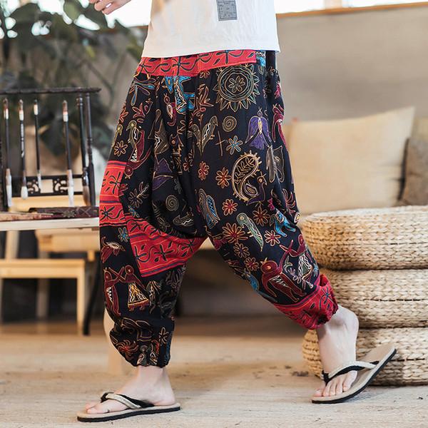 Cotton Linen Wide Leg Pants Men Joggers Printed Hip Hop Harem Pants Men Streetwear Sweatpants Trousers Casual