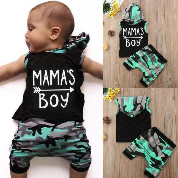 Summer Baby Boys Clothes Set Kids Arrow Letter Print Boys Set Baby Boy Sleeveless Hooded Vest T-shirt Seven Pants Cotton Outfits