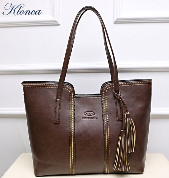 Klonca PU Leather 2019 New Fashion Female Handbag Tassel Big Bag Large Capacity Freeshipping Casual Women Bag