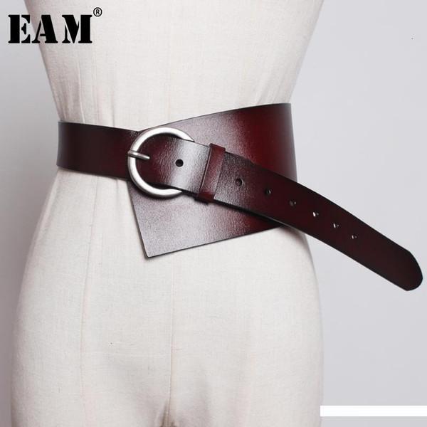 [EAM] Pu cuir Multicolor asymétrique large personnalité longue ceinture Femmes Mode New Tide Tout match Automne Hiver 2020 1K756