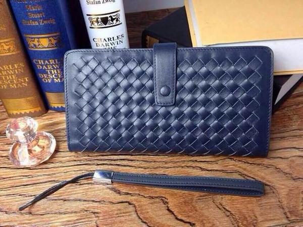 Venta al por mayor de los hombres de moda de la cremallera de primera clase de cuero de largo bolso de la cartera y el bolso de la abrazadera envío gratis