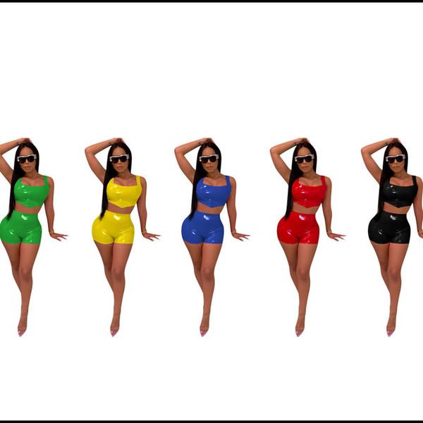 Женская из двух частей костюм 2019 лето новая мода подтяжки кожаные шорты тощий сплошной цвет растениеводство топы сексуальные мини-шорты 5 цветов S-2XL