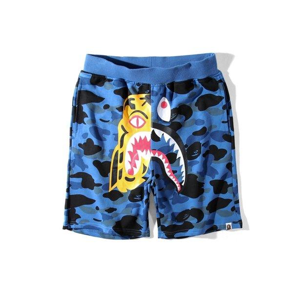 Bape Herren Kurze Hosen Fashion Designer Herren Hip Hop Nähen Shark Printing Kurze Hosen Sommer Strand Shorts 3 Farben M-XXL