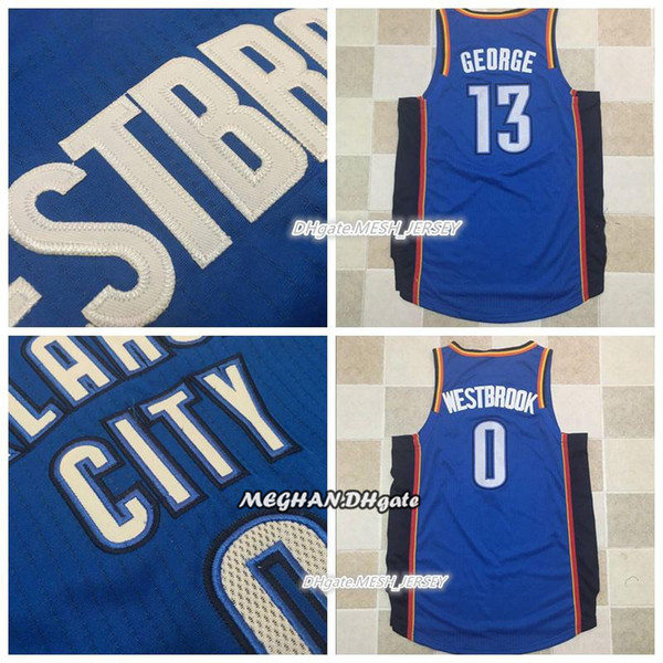 san francisco 03eb9 6bdf5 2018 Men George Authentic Oklahoma City Basketball 13 Paul George Thunder 0  Russell Westbrook Jerseys Dense AU Mesh Fabric Jerseys Dense Logo From ...