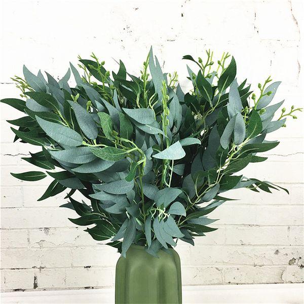 GXINUG Artificial Willow Bouquet Grünpflanze Faux Gefälschte Blätter Grünpflanze Kranz Blume für Weihnachten Home Hochzeit Party Decor
