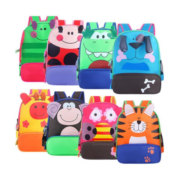 Niños de dibujos animados de animales Mochilas Niño Niña linda de la guardería bolsas de hombro mochilas niños del niño del morral de la lona de mano GGA3173-4