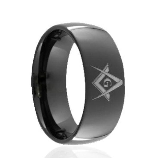 Domed Polished Black Tungsten Ring Super laser engraving wholesales 8mm