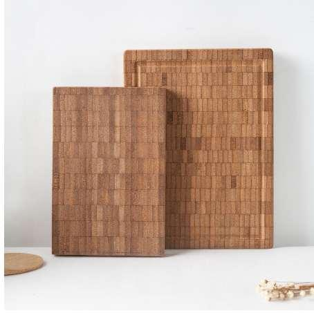 Natural Bamboo Chopping Block Rectangle Thick Fruits Mini Cutting Board Creative Pattern Eco-Friendly Healthy Food Plates