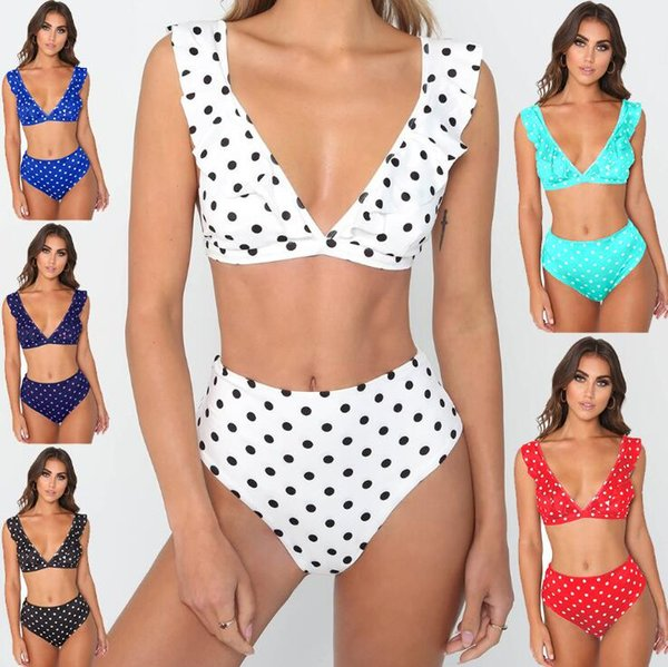 Women Falbala Floral Bikini Set Push Up Swimwear Polka Dot Slim Bathing Suits Summer Beachwear Bras Panties Tankini OOA6487