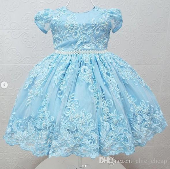 2019 Vintage Flower Girls' Dresses Tulle Baby Infant Toddler Baptism Clothes With Tutu Ball Gowns Birthday Party Dress