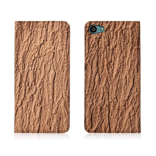 Bark Pattern Genuine Leather Flip Case For Sony Xperia Z5 Compact Phone Case With Card Holder For Sony Xperia Z5 Compact Phone Bag Kickstand