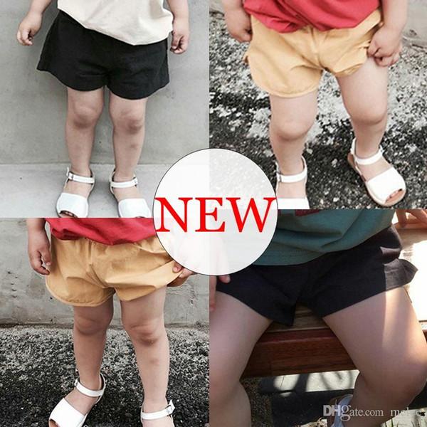 Новые летние ins дети 100% хлопок сплошной цвет хаки шорты детские черные брюки шорты детские печати синий пп брюки 0-6years свободный корабль