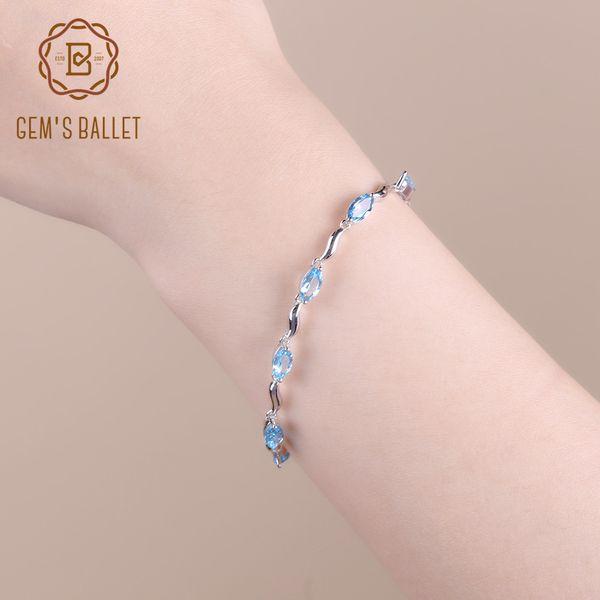 GEM'S BALLET Marquise Shape 6.25Ct Natural Swiss Blue Topaz Bracelet 925 Sterling Silver Bracelets For Women Gift Fine Jewelry