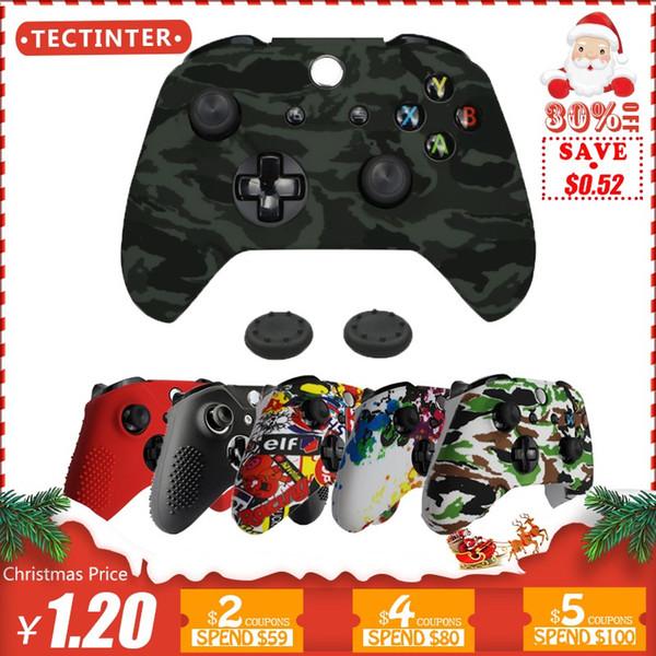 Etui en silicone + Analog Sticks Grip Pour Xbox One S Controller Housse de protection en peau pour Xbox One Slim Gamepad Camouflage