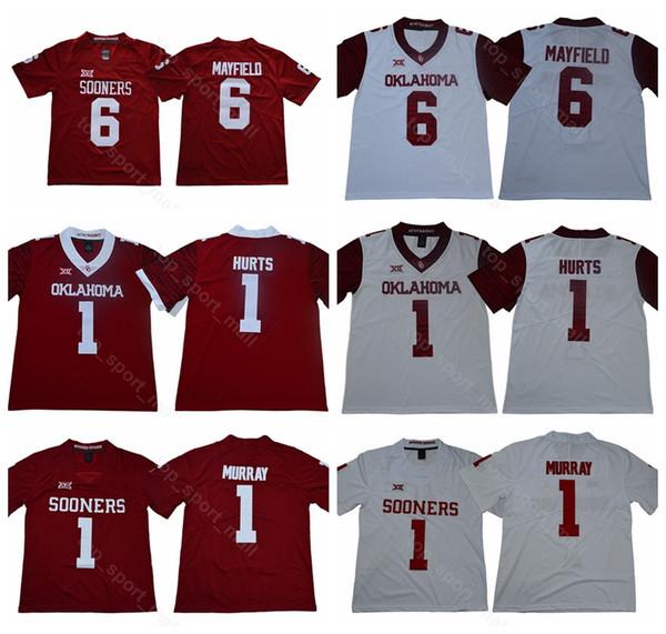 new concept dfc14 7961d 2019 New Style College 1 Kyler Murray Jersey Men Red White Oklahoma Sooners  Football Stitched 1 Jalen Hurts 6 Baker Mayfield 28 Adrian Peterson From ...