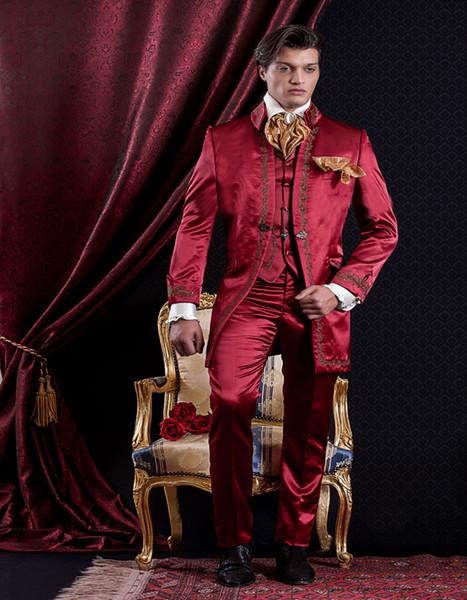 Apuesto bordado Padrinos de boda Mandarín Solapa Novio Tuxedos Trajes de hombres Boda / Baile de graduación / Cena Best Man Blazer (chaqueta + pantalón + corbata + chaleco) A37