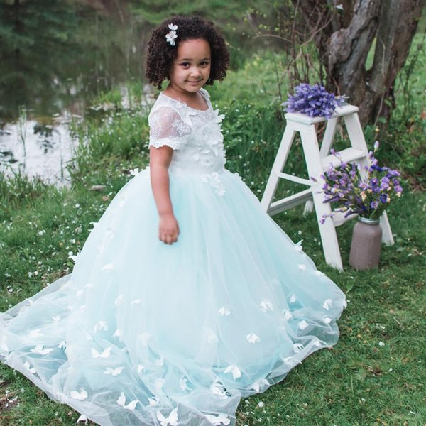 Butterfly Flower Girl Dress for Wedding Kids First Communion Princess Pageant Ball Gowns Dresses 2-12 Years Old