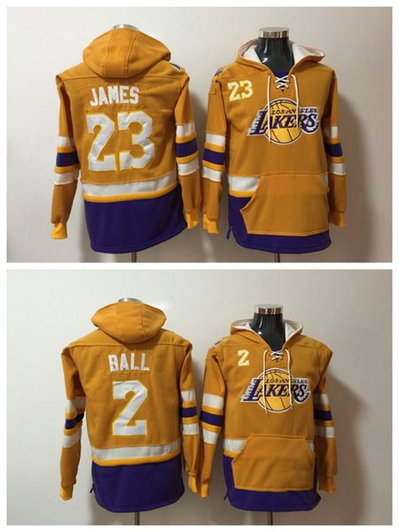 Männer Los Angeles Basketball Laker Hoodie 24 Bryant 23 LeBron James 2 Lonzo Ball ALLES Genähtes Sweatshirt S-XXXL
