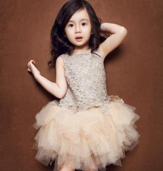 Kids Girl Lace Princess Dress Baby Veil Vest Dress Sleeveless Children's Tutu Dresses Kids Clothing Summer LJJV265