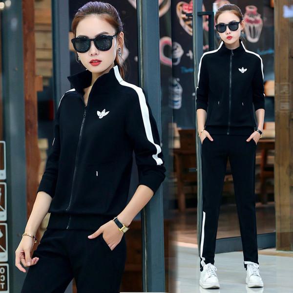 6XL Frühlings-Frauen Anzug Sport Zip Up Jacket Sweatshirt + keuchen Female Lauf Rüttlereignung Gelegenheits Sportlich Set-Sport-Klage