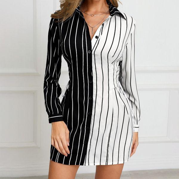 fashion black & white symmetric patchwork stripes jumpsuit women office lady long sleeves playsuit women jumpsuit rompers