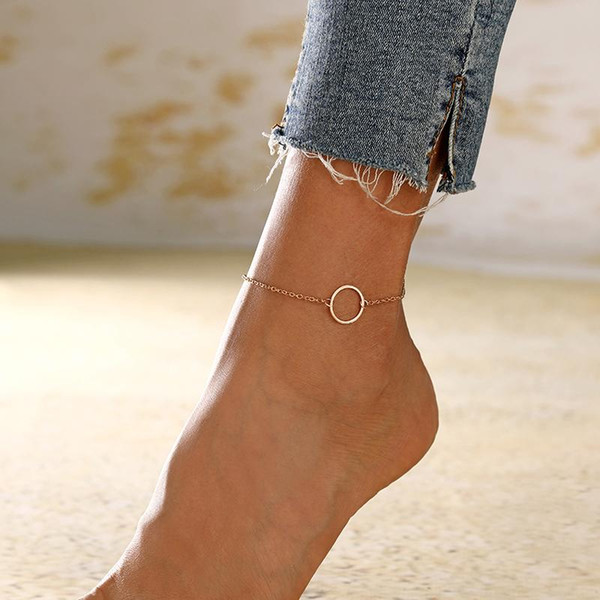 Geometric Anklets Big Circle For Women Foot Accessories Summer Beach Barefoot Sandals Bracelet Ankle on the leg Female