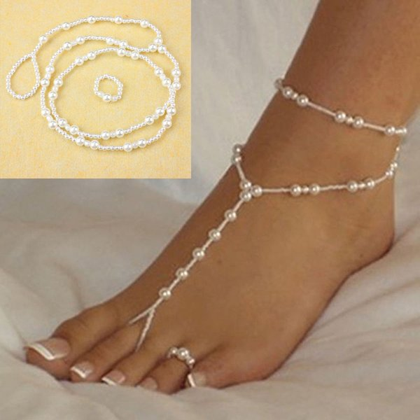 Fashion Wedding Foot Chain Jewelry Anklet Chains Women Beach Imitation Pearl Barefoot Sandals Foot Jewelry Crystal Sandals KKA6154