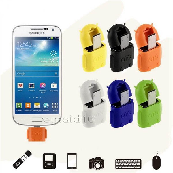 OTG-Adapter-Cartoon-Roboter-Micro-USB-zu-USB-Kabel für Universal-Android-Smartphone und Tablet-PC-Mäusetastatur mit OTG