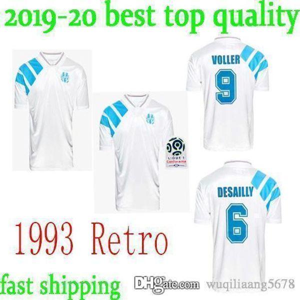 1993 Olympique de Marsella Retro Conmemora la camiseta de fútbol 25 maillot de foot om PAPIN BOLI DESAILLY VOLLER Camisetas de fútbol de Marsella