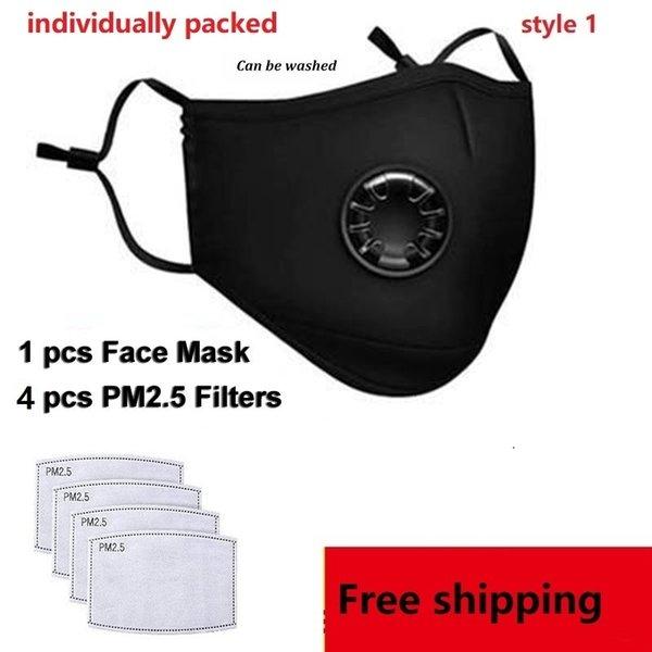 1 unids negro máscara + 4 unids filtros (style1)