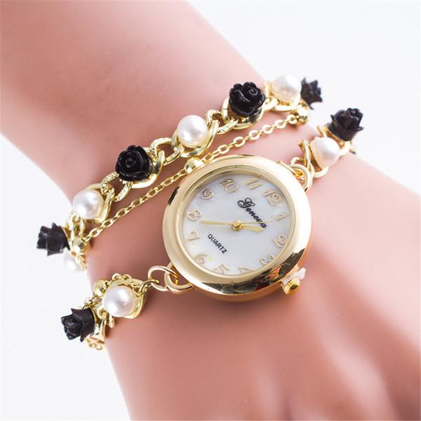 Fashion Watch Women Gold Fashion Aolly Steel Strip Bracelet Watch Pearl Decoration Analog Quartz Ladies Wrist Kol Saati #W