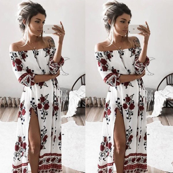 Women Ladies Clothing Dress Chiffon Floral Long Sleeve Party Flower Casual Long Maxi Dresses Women Summer Sundress Y19012201