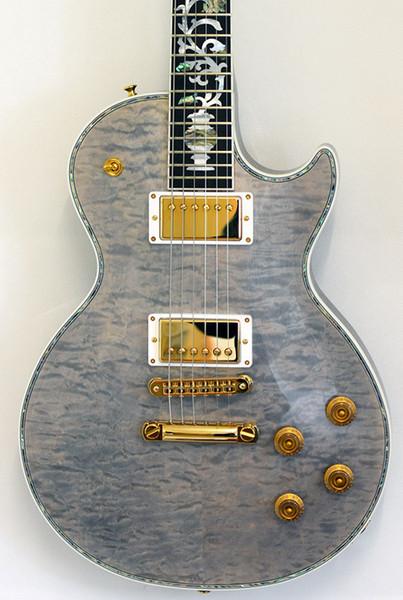 Custom Ultima Grey Pearl Limited Run Arce acolchado Top Electic Guitar Abalone Encuadernación corporal, incrustaciones de árbol de la vida, sintonizadores imperiales Grover