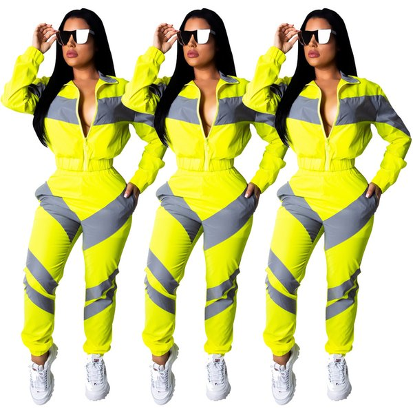 top popular New Fashion Colorful Patchwork long sleeve zipper open jackets long legging 2 pcs women's sets sporty tracksuits outfits Yellow 2019