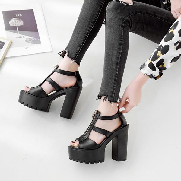 Dedo del pie abierto sandalias de las mujeres talón bloqueado moda cremallera 2019 nuevos zapatos de verano mujer cubierta de la plataforma talones negro gladiador sandalias mujeres YMA715