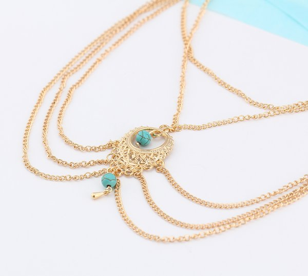 Bohemia Ethnic Turquoise Beads Anklet Hollow Vintage Multi-Layer Chic Tassel Foot Chain Ankle Bracelet Body Jewelry Beach Fashion K3525