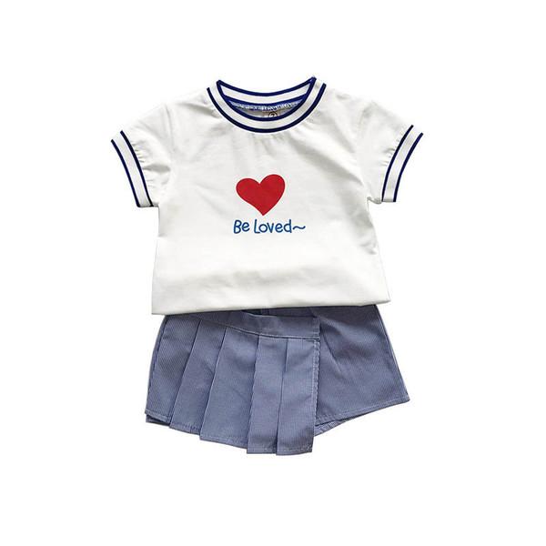 Yeni kızlar suits çocuklar kıyafetler moda çocuklar giysi tasarımcısı kızlar giysi pamuk kısa kollu t gömlek + etek pantolon şort çocuklar setleri A7091