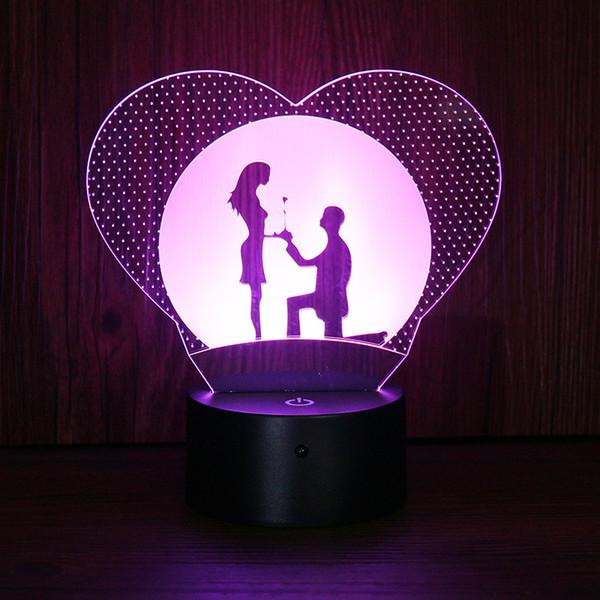 Großhandel Valentinstag Nachtlichter Acryl DIY Nachtlampe Weiß Geschenke 3D  Lichter Schlafzimmer Ambiente Nachtlichter New Chic Led Leuchten I68 Von ...