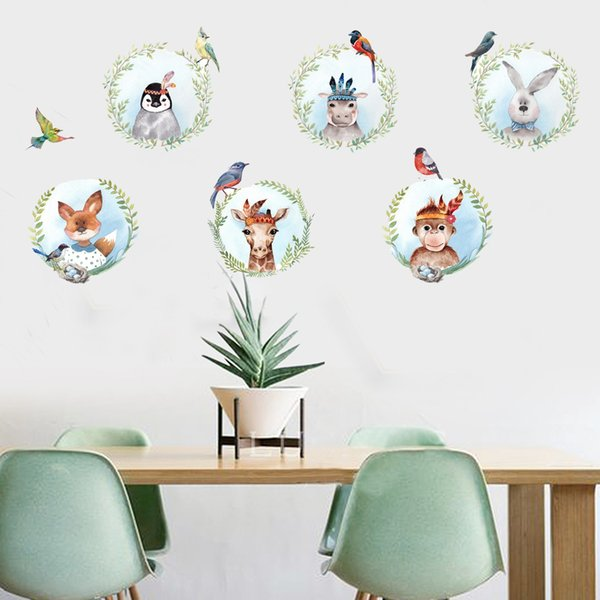 Kids Room Wall Sticker decorative color self-adhesive painting wall removable sticker refreshing style cute animals