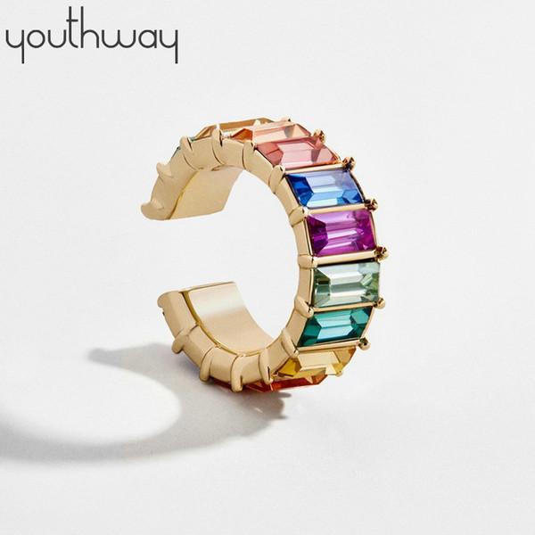 new trend rainbow bagutte earcuff jewelry t zircon ear cuff for women c shape no piercing nickel clip on earrings
