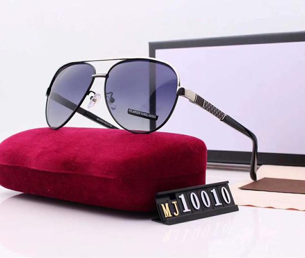 Дизайнерские солнцезащитные очки Роскошные солнцезащитные очки Модные поляризованные для мужского стекла UV400 Стильный бренд с коробкой и логотипом G10010 Превосходное качество