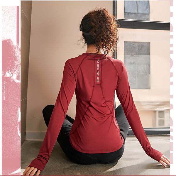 Pembe Kırmızı Siyah Mavi Letter Uzun Kollu Bayan Yoga Üst Spor Gömlek Spor Kadınlar Gym Spor Tişört Üst Fitness Wear